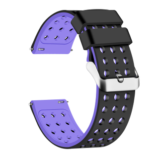 Silicone Quick Release Straps - 18mm (Black/Purple)