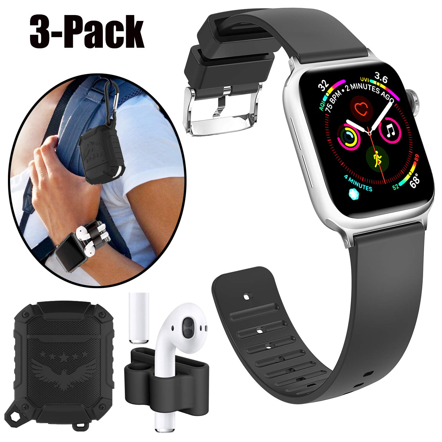 Apple Airpods & Watch Sport Accessories Set-----Airpods case+Airpods holder+Apple watch band
