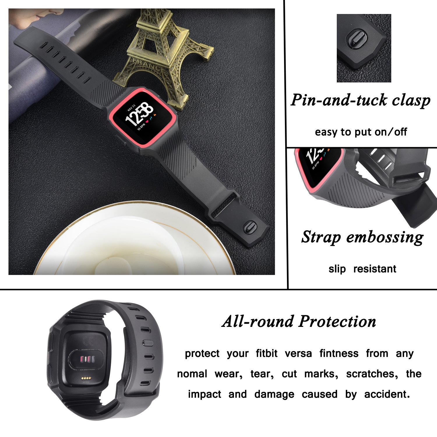 Lwsengme Compatible with Fitbit Versa Band with Bulit-in Case