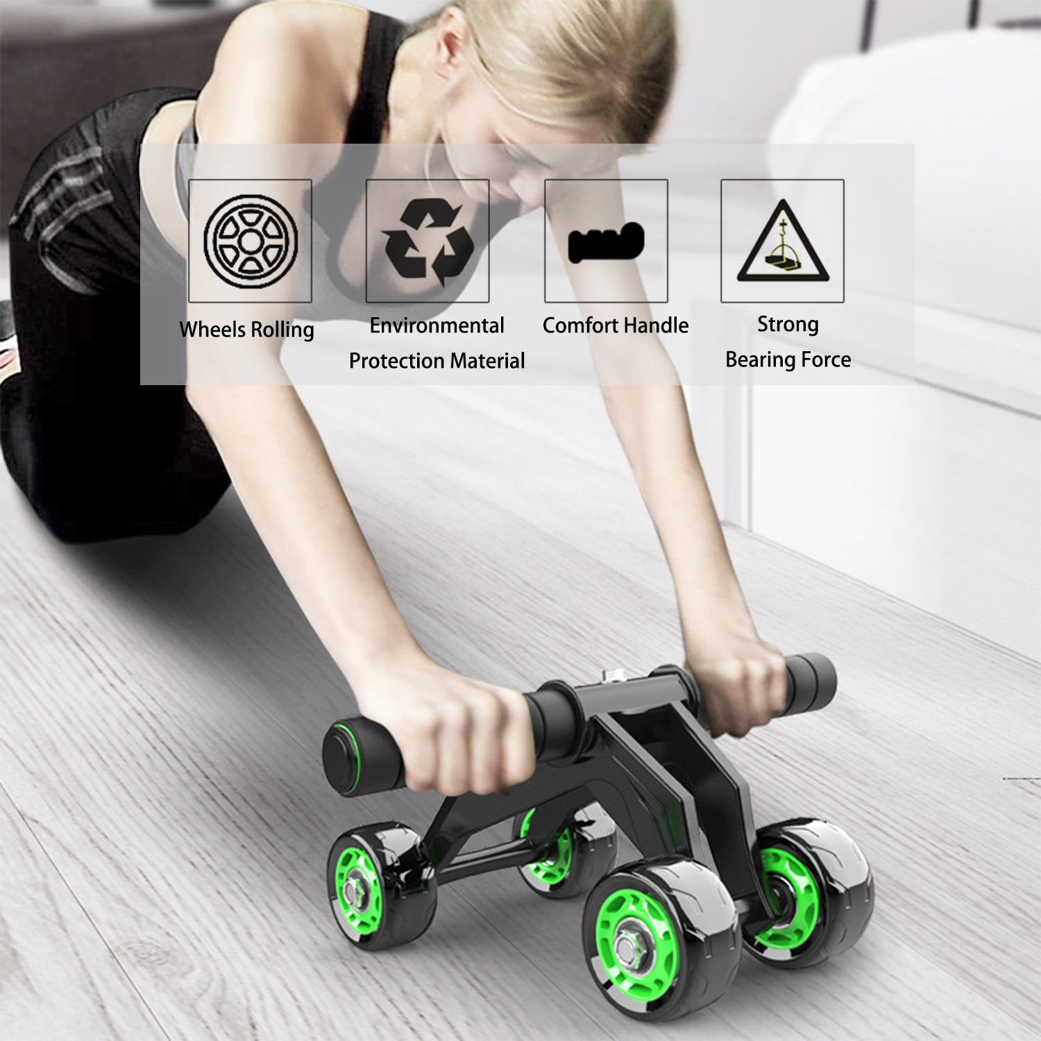Abdominal Wheel with Knee Pad and Resistance Band, 4 Wheels Ad Roller Set for Abdominal Training Home Workout Exercise