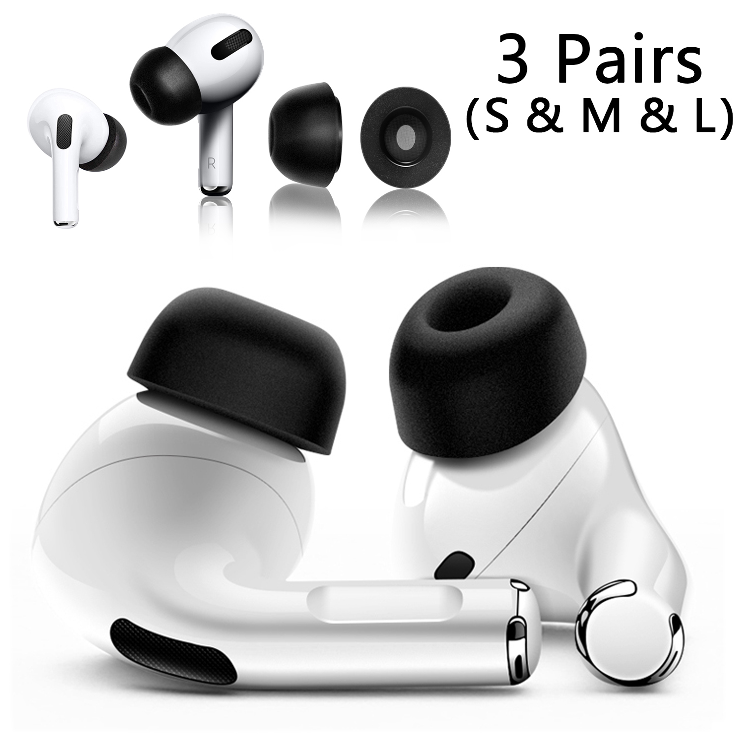 Memory Foam Ear Tips Compatible with Airpods Pro, S/M/L Replacement Airpod pro Earbuds Anti-slip Tips Caps Compatible with Apple Airpods Pro